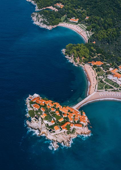 Aman resort is a luxurious property situated on the Sveti Stefan island