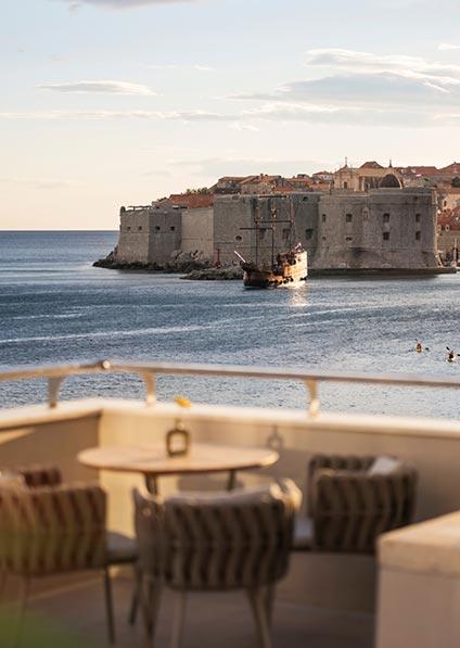 Hotel Excelsior; restaurant terrace overlooking Old Town Dubrovnik