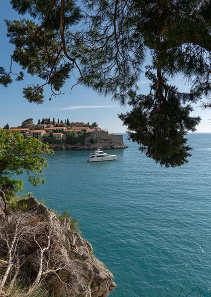 Day 14, motorboat ride to Sveti Stefan island in Montenegro