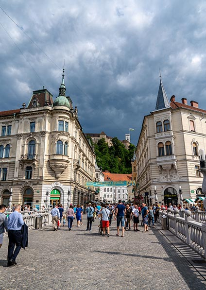 Day 2 - enjoy a private guided walking tour of Ljubljana including sightseeing of the baroque and art nouveau architecture, numerous bridges, and ljubljanica river visit