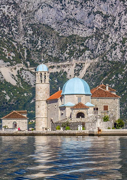 view of the Lady of the Rocks islet in Montenegro
