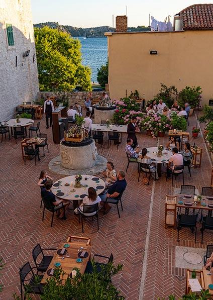 Terrace of Pelegrini restaurant in Sibenik