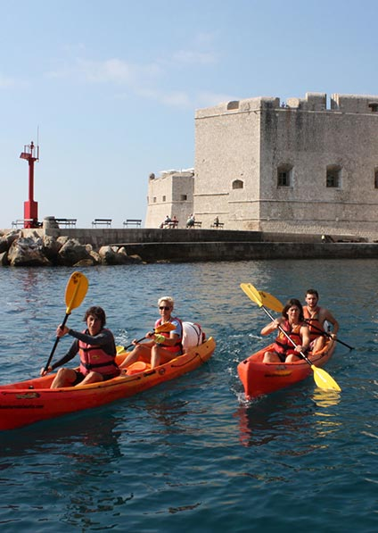sea kayak private tour in Dubrovnik under the Old Town walls